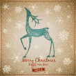 Hand Drawn Vintage Deer Christmas Card — Stock Vector