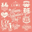 Happy Valentine's Day Hand Lettering - Typographical Background with ornaments, hearts, ribbon, angel and arrows — Stock Vector