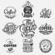 Of Vintage Retro Coffee Labels — Stock Vector