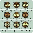 Funny Vector Owl Set — Stock Vector
