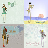 Summer, Winter, Autumn and Spring Girls — Stock Vector