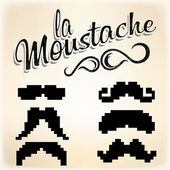 Pixel Mustache set — Vector de stock