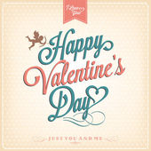 Happy Valentine's Day Hand Lettering - Typographical Background — Stock Vector