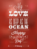 Happy Valentine's Day Hand Lettering - Typographical Background — Vector de stock