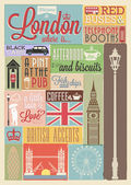 Retro style poster with London symbols and landmarks — Stock Vector