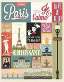 Retro Poster With Paris Symbols And Landmarks — Stock Vector