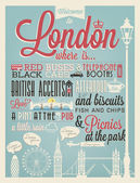 London Typographical Background — Stock Vector