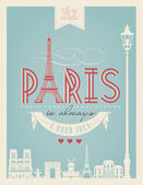 Typographical Retro  Poster With Paris Symbols — Wektor stockowy