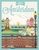 Retro style poster with Amsterdam — Stock Vector