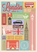 Retro style poster with London — Stock Vector