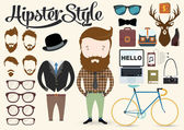 Hipster character illustration — Vector de stock