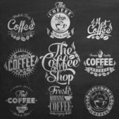 Vintage Coffee Labels On Chalkboard . — Vecteur