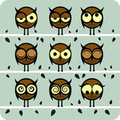 Funny Vector Owl Set — Stock Vector