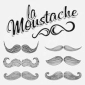 Hand Drawn Black Mustache Set — Stock Vector