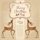 Hand Drawn Vintage Christmas Card — Stock Vector
