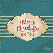 Blue Vintage Christmas Card — Stock Vector