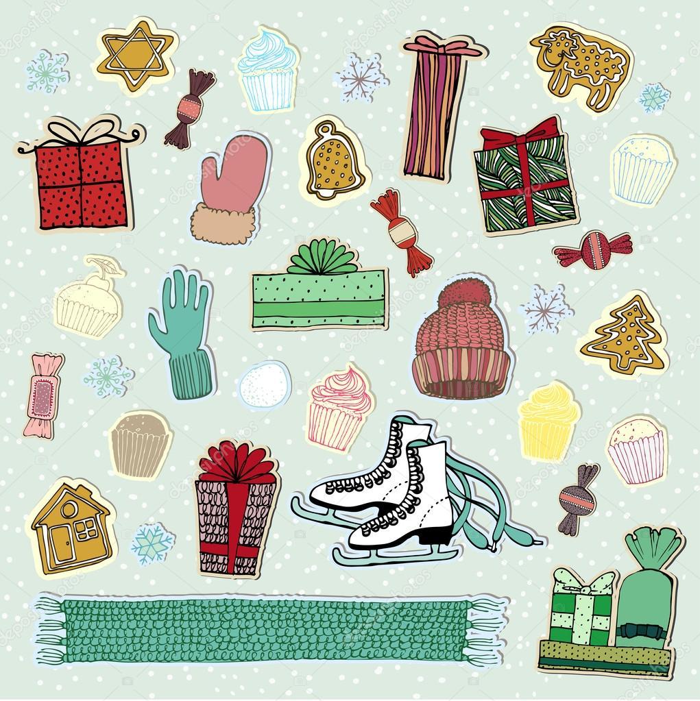 Cosas de invierno y la decoraci n de navidad vector de for Cosas de decoracion
