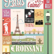 Cтоковый вектор: Poster With Paris Symbols And Landmarks