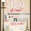 Vector de stock : Retro Poster With Paris Symbols And Landmarks