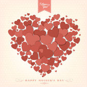 VIntage Happy Mothers's Day with Hearts — Stock Vector