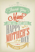 Vintage Happy Mothers's Day Typographical Background — Διανυσματικό Αρχείο