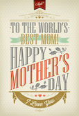 Vintage Happy Mother's Day Typographical Background — Stok Vektör