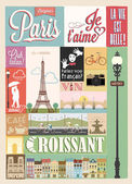 Poster With Paris Symbols And Landmarks — Stock Vector