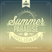 Summer Paradise Holidays Typography — Stock vektor