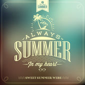 It's Always Summer Typography Background — Stock Vector