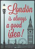 Retro Poster With London Symbols — Stock Vector
