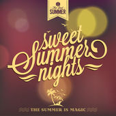 Summer Nights Typography Background — Stock Vector