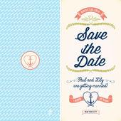 Wedding Nautical Invitation Card — Stock Vector