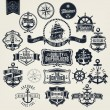 Vector de stock : Vintage Retro Nautical Badger And Labels