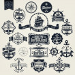 图库矢量图片: Vintage Retro Nautical Badger And Labels