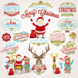 Christmas Retro Icons, Elements And Illustrations Set — Stock Vector