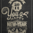 Vector de stock : Vintage New Year Background On Blackboard