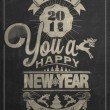 Stock Vector: Vintage New Year Background On Blackboard