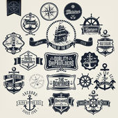 Vintage Retro Nautical Badger And Labels — Wektor stockowy