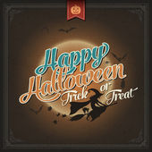 Happy Halloween Trick Or Treat, Vintage Poster — Stock Vector