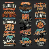 Halloween Calligraphic Designs VIntage Vector Set — Stock Vector