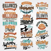 Halloween Calligraphic Designs VIntage Vector Set — Stok Vektör