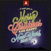 Vintage Christmas Typography Background — Stockvector