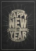 Vintage New Year Background On Blackboard — Stock Vector