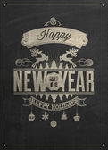 Vintage New Year Background On Blackboard — Stockvektor