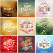 Set Of Vintage Christmas Background — Stock Vector