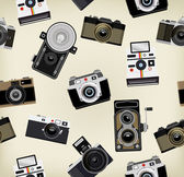 Set Of Vintage Cameras Background — Stock Vector