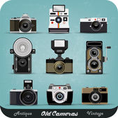 Set Of Vintage Cameras Background — Vettoriale Stock