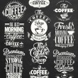 Set Of Vintage Retro Coffee Labels On Chalkboard — Stock Photo #45442309