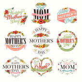 Vintage Happy Mothers Day Typographical Labels Set — Stock Photo
