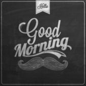 Good Morning Typographical Background On Chalkboard With Chalk — Stockfoto